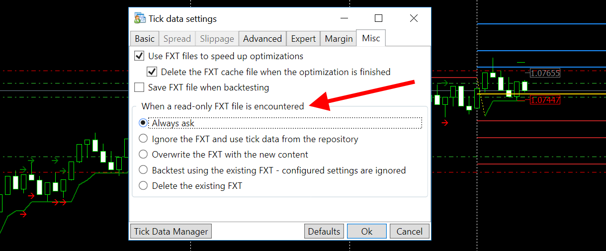 Software asks the user which FXT file should be used in the backtest